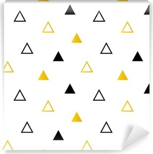Trendy black and gold triangles on white seamless pattern background. Washable Wall Mural