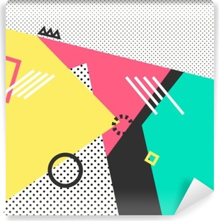 Trendy geometric elements memphis cards. Retro style texture, pattern and geometric elements. Modern abstract design poster, cover, card design. Washable Wall Mural