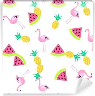 Tropic summer seamless white pattern with watermelon, flamingo and pineapples. Pink and yellow fun pattern. Washable Wall Mural