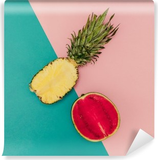Tropical Mix. Pineapple and Watermelon. minimal Style Washable Wall Mural
