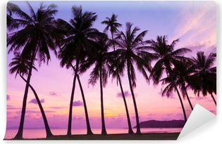 Tropical sunset over sea with palm trees, Thailand Washable Wall Mural