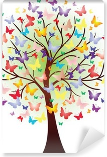 Vector beautiful spring tree, consisting of butterflies Washable Wall Mural
