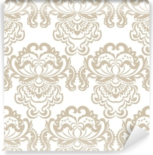 Vector floral damask baroque ornament pattern element. Elegant luxury texture for textile, fabrics or wallpapers backgrounds. Beige color Washable Wall Mural