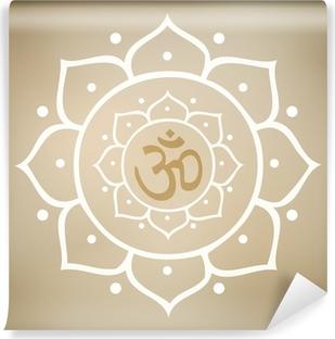 Vector Lotus Mandala with Om Symbol Washable Wall Mural