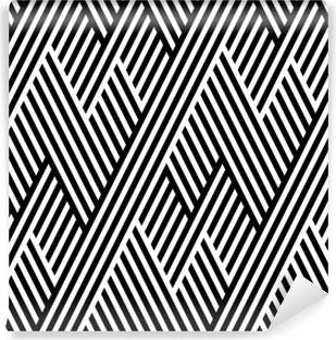 Vector seamless texture. Geometric abstract background. Monochrome repeating pattern of broken lines. Washable Wall Mural