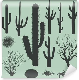 vector set of Silhouettes of cacti and other desert plants Washable Wall Mural