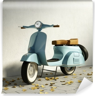 Vintage blue motorcycle vespa, by wall with fallen leaves Washable Wall Mural