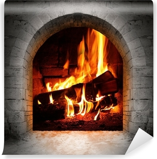 Vintage fireplace with burning logs. Washable Wall Mural