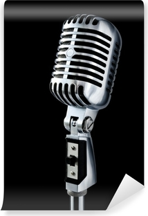 vintage microphone over black Washable Wall Mural