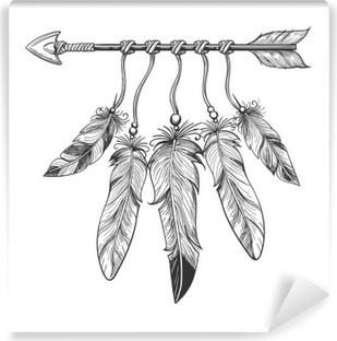 Vintage nativity hand drawn arrow with feathers. Tribal boho indian dreamcatche talisman isolated on white background. Vector illustration Washable Wall Mural