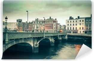 Vintage style view of Dublin Ireland Grattan Bridge Washable Wall Mural