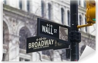 Wall st. street sign, New York, USA. Washable Wall Mural