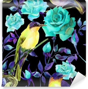 Watercolor birds on the blue roses Washable Wall Mural
