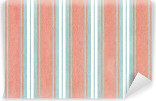 Watercolor blue and pink striped background. Washable Wall Mural