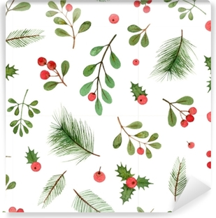 Watercolor Christmas Plants And Berries Seamless Pattern On A White Background Wallpaper Pixers We Live To Change
