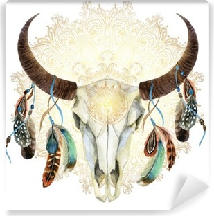 watercolor cow skull with feathers Washable Wall Mural