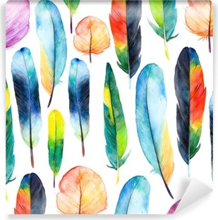 Watercolor feathers set.Pattern with hand drawn feathers Washable Wall Mural