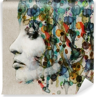 Watercolor female profile Washable Wall Mural
