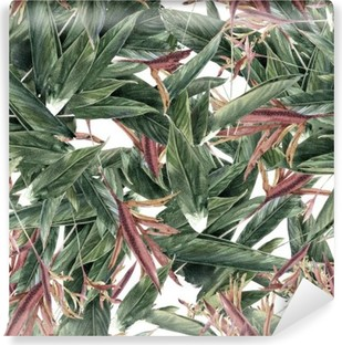Watercolor painting of leaf and flowers, seamless pattern Washable Wall Mural