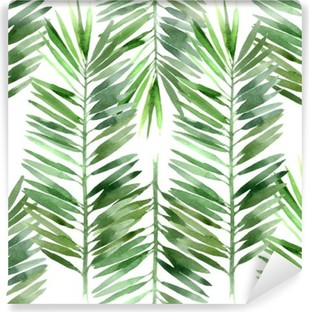 watercolor palm tree leaf seamless Washable Wall Mural