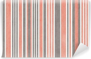 Watercolor pink and grey striped background. Washable Wall Mural