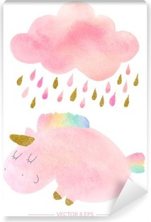 Watercolor unicorn and cloud with rain Washable Wall Mural