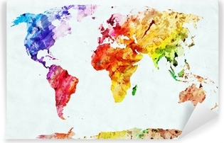 Watercolor world map Washable Wall Mural