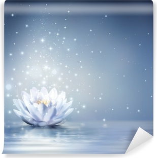 waterlily light blue on water - fairytale background Washable Wall Mural