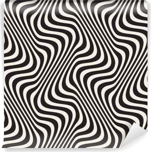 Wavy Lines Optical Illusion. Vector Seamless Black and White Pattern. Washable Wall Mural