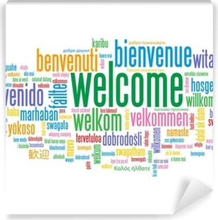 Welcome tag cloud customer service greetings home smile card welcome tag cloud customer service greetings home smile card washable wall mural m4hsunfo