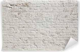 White grunge brick wall background Washable Wall Mural