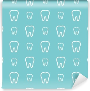White teeth on blue background. Vector dental seamless pattern. Washable Wall Mural