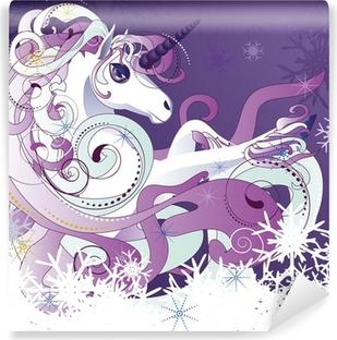White unicorn Washable Wall Mural