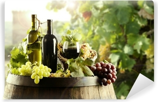 Wine with cask and vineyard Washable Wall Mural
