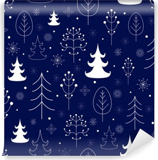Winter forest background Washable Wall Mural