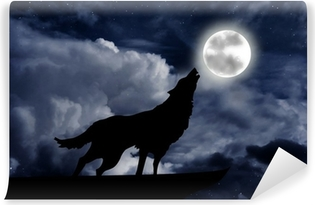 Wolf howling at the full moon Washable Wall Mural