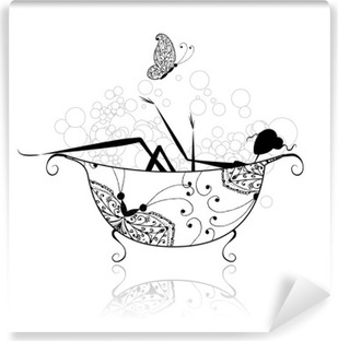 Woman in bathroom with foam for your design Washable Wall Mural