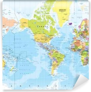 World map america in center bathymetry sticker pixers we world map america in center bathymetry self adhesive wall mural gumiabroncs Choice Image