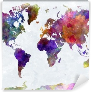 World map in watercolorpurple and blue Washable Wall Mural