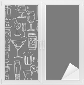Alcohol drinks and cocktails icon set Window & Glass Sticker