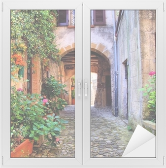 Arched cobblestone street in a Tuscan village, Italy Window & Glass Sticker