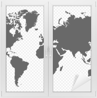 Black silhouette isolated World map EPS10 vector file. Window & Glass Sticker