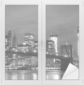 Brooklyn Bridge and Manhattan Skyline At Night, New York City Window & Glass Sticker