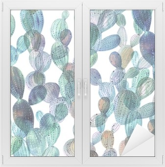 Cactus pattern in watercolor style. Window & Glass Sticker