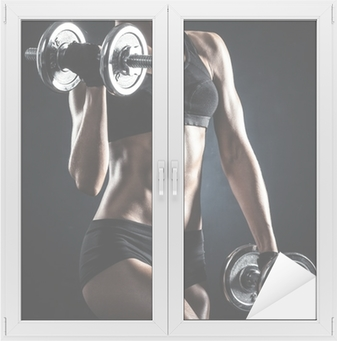 Fitness with dumbbells Window & Glass Sticker