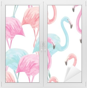 flamingo watercolor pattern Window & Glass Sticker