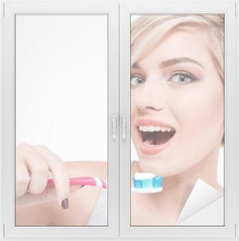 Happy cute woman brushing teeth Window & Glass Sticker