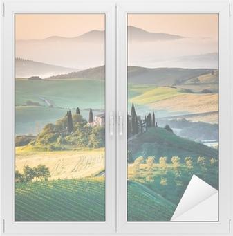 Mattino in Toscana, paesaggio e colline Window & Glass Sticker