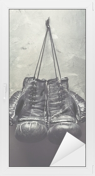 old boxing gloves hang on nail Window & Glass Sticker
