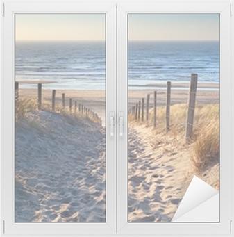 path to North sea beach in gold sunshine Window & Glass Sticker